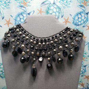 1990s acrylic black choker collar necklace